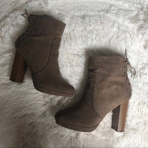 Taupe Lace-Up Ankle Boots